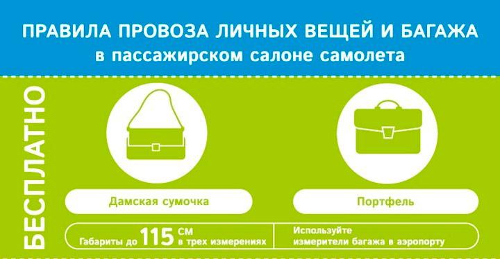 Правила перевозки бесплатной ручной клади АК Победа