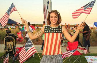 Девушка с американской символикой