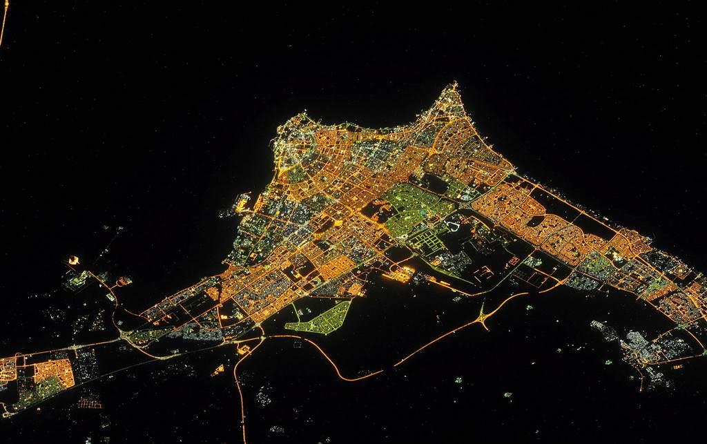 Ночной Кувейт с космоса