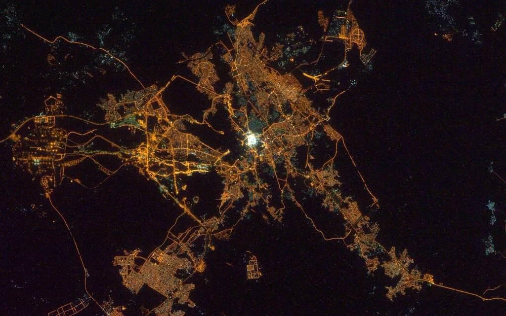 Ночной Эр-Рияд с космоса