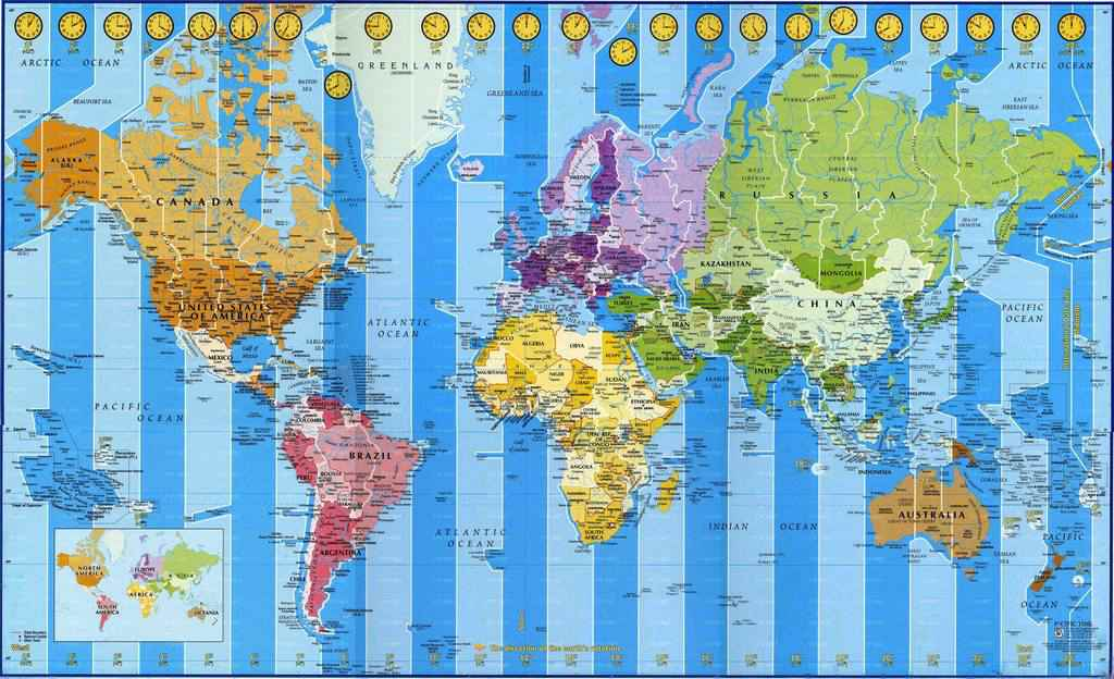 Часовые пояса в разных странах