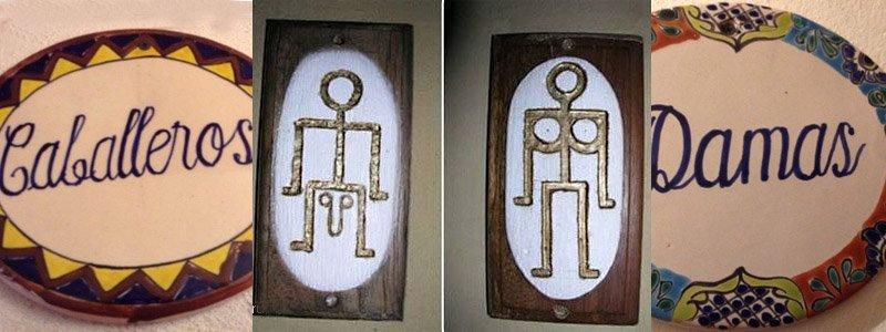 вывеска туалет Мексика