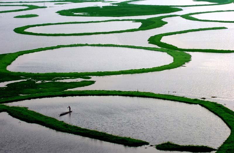 Как выглядят кольцеобразные островки на озере Локтак