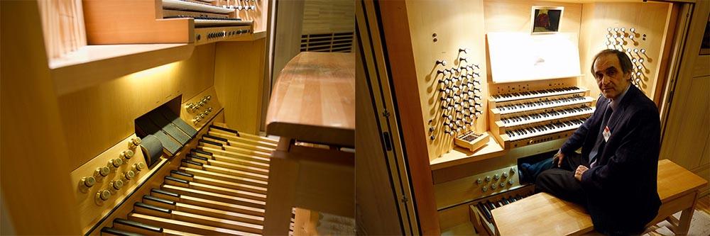Орган управляется с помощью специального пульта, который оснащен четырьмя ручными клавиатурами, расположенными поочередно