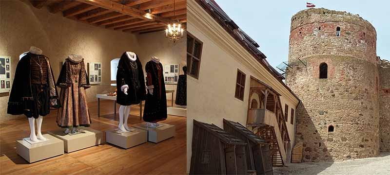 Внутри можно посмотреть коллекции костюмов, украшений, которые носили в Курляндии еще в 16-17 веках.