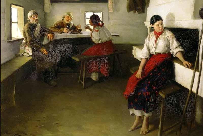 На смотринах родители с обеих сторон рассматривали жениха и невесту, а также приданое девушки, дом, хозяйство, состоятельность молодого человека