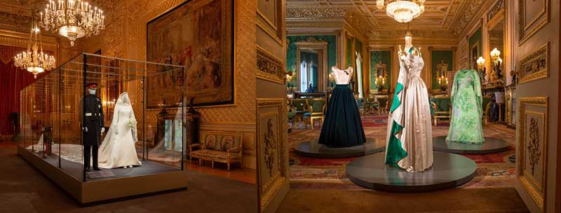 коридорах дворца расположены фигуры древних рыцарей, их доспехи и оружие.