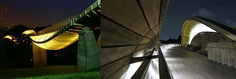 Ночная подсветка моста «Волны Хендерсона» создает еще более романтическую и уютную обстановку.