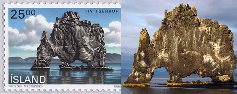 В 1990 году изображения со скалой Хвитсеркур появилась на почтовых марках Исландии.